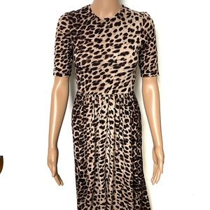 Asos Leopard Print Short Sleeve Maxi Dress